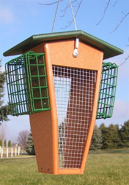 Amish Poly Split Peanut Bird Feeder with Suet Cages