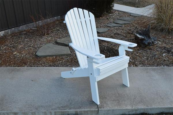 Amish Poly Folding Adirondack Chair with Two Built-In Cupholders