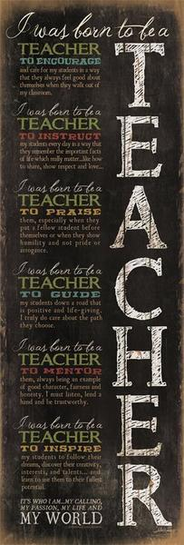 Born to be a Teacher Inspirational Plaque