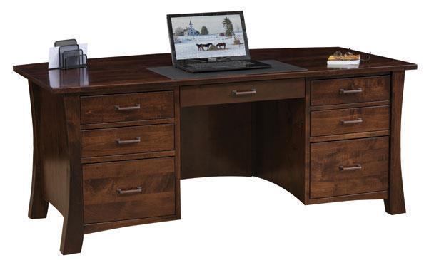 Amish Jefferson Flat Top Desk with Optional Hutch Top