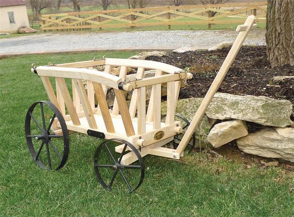 Amish Wooden Goat Cart - Small Premium