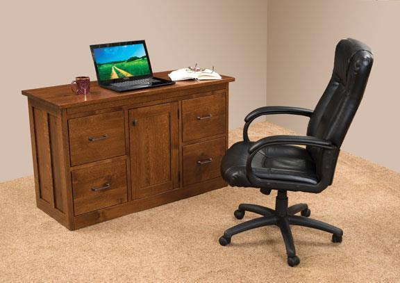 "Amish Mission 50"" Flat Top Desk with Optional Pullout Top"