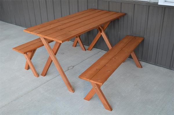 Amish Cedar Wood Economy Dining Table with Two Benches