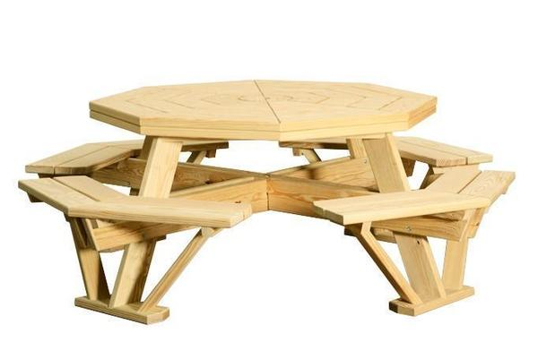 "Amish Pine Wood 52"" Octagon Picnic Table"