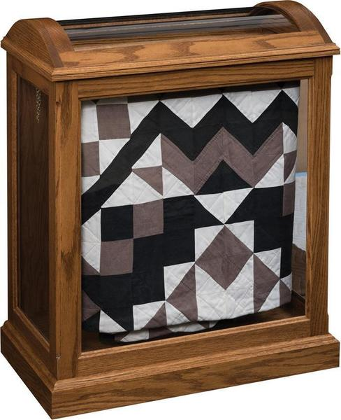 Amish Medium Quilt Curio with Enclosed Base Shown In Oak Wood With Seely Stain