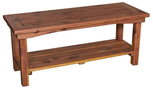 Superb Amish Cedar Wood Economy Dining Table With Two Benches Download Free Architecture Designs Scobabritishbridgeorg