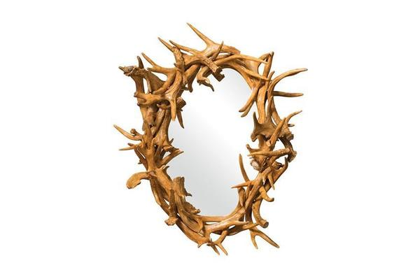 Amish Oval Antler Mirror
