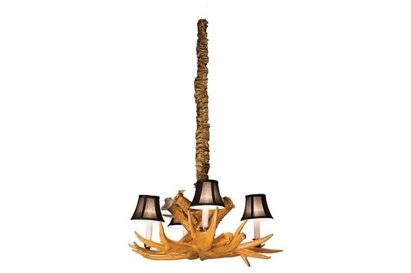 Amish Small Antler Chandelier with 4 Lamps and Shades