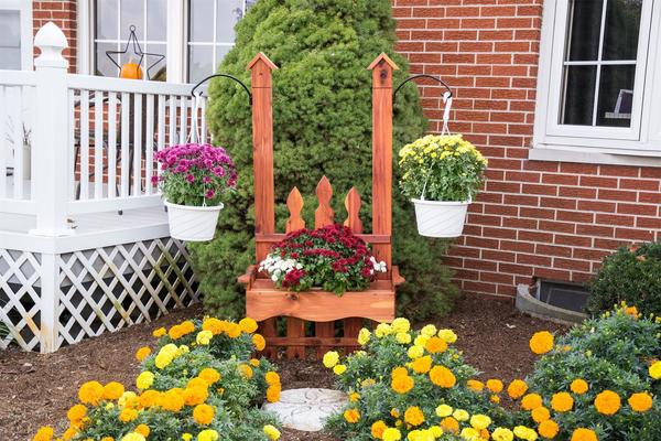 Amish Wooden Hanger Bench Planter