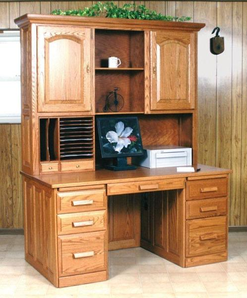 Amish Flat Top Computer Desk with Hutch
