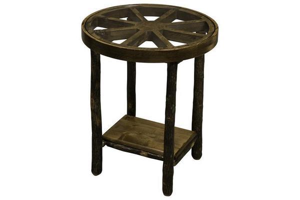 Rustic Hickory Wagon Wheel End Table