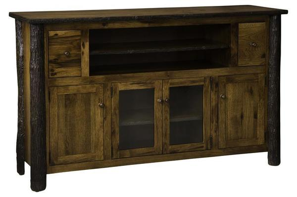 Amish Rustic Entertainment Center with 2 Drawers and 4 Doors