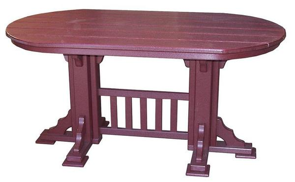 Amish Poly Oval Mission Dining Table