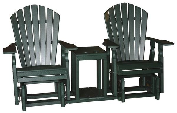 Amish Seaside 22 Inch Poly Composite Classic Glider Chairs and Settee Table Set