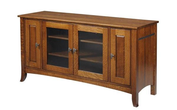 Amish Cranberry TV Stand with Four Doors