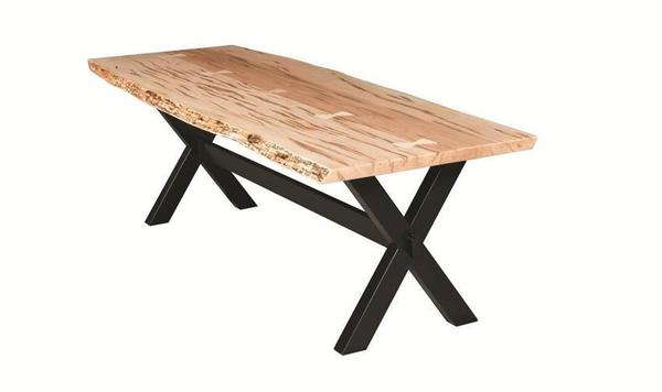 Amish Frontier Dining Table with Bookmatch Live Edge Slab