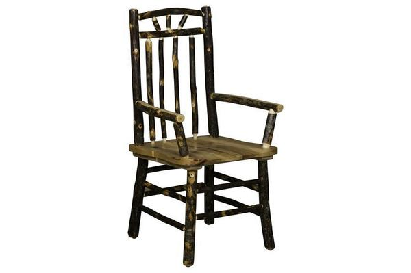 Amish Rustic Hickory Spindle Back Captain's Chair