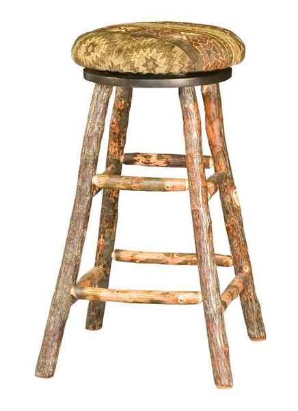 Amish Upholstered Rustic Hickory Bar Stool with Swivel
