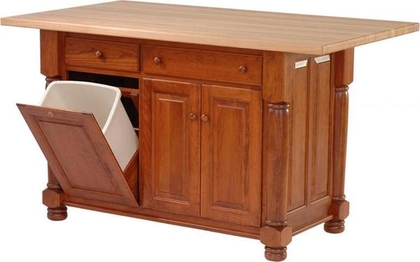 Amish Turned Leg Kitchen Island with Three Doors and Two Drawers