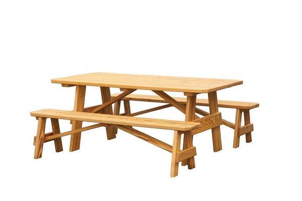 Amish Pine Wood Outdoor Three Piece Dining Set