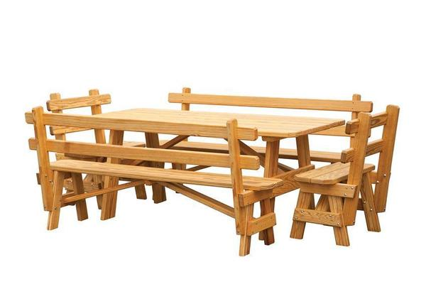 Prime Amish Pine Outdoor Picnic Table With Detached Benches Forskolin Free Trial Chair Design Images Forskolin Free Trialorg
