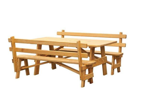 Amish Pine Wood Outdoor Picnic Table with Two Benches