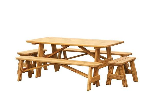 Amish Pine Outdoor 5 Piece Picnic Table Set with Benches