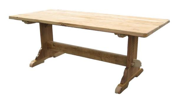 American Salvaged Barnwood Trestle Table with Breadboard Ends