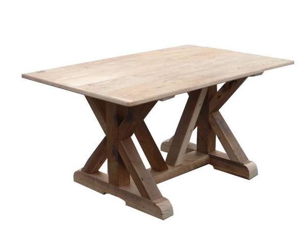 Reclaimed Barn Wood X Base Trestle Table with Breadboard Ends