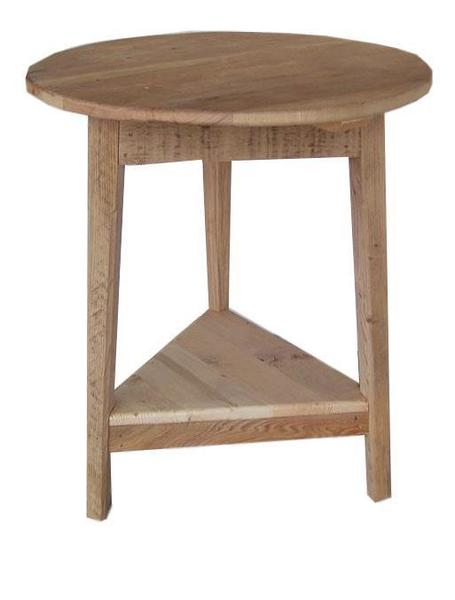 Amish Rustic Barn Wood Round Shaker End Table