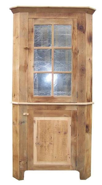 Reclaimed Barn Wood Corner Hutch With Glass Doors
