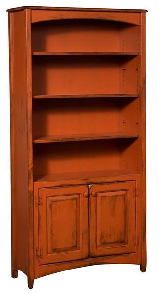 Amish Pine Wood 6' Carolina Bookcase with 2 Doors