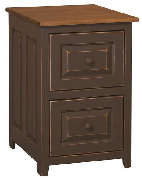 Amish Pine Regular 2-Drawer File Cabinet - Maple Top