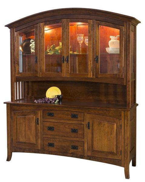 Amish Cambria Four Door Hutch with Top Glass Doors