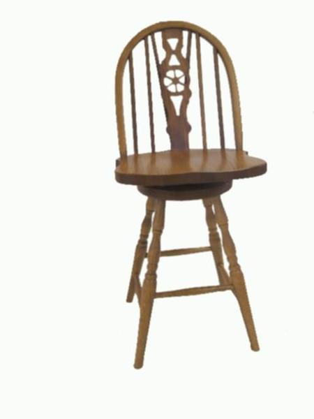 Amish Slot Fiddle Swivel Barstool