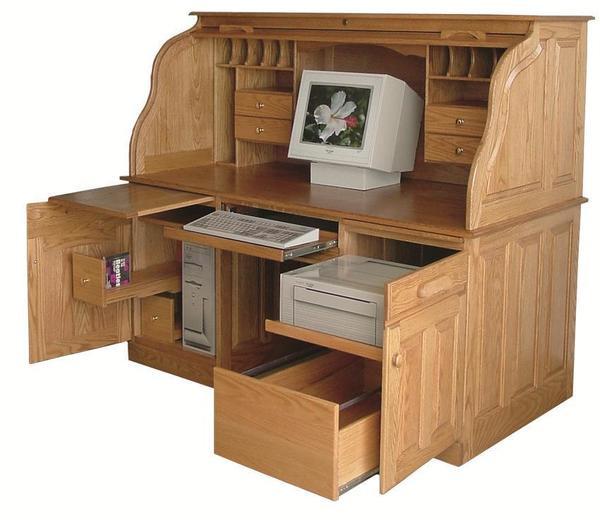 """Amish 64"""" Deluxe Computer Rolltop Desk"""