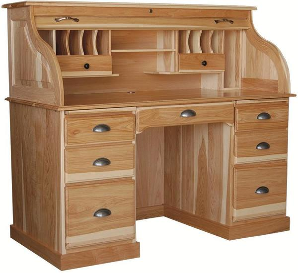 """Amish 56"""" Rolltop Desk with Flat Sides"""