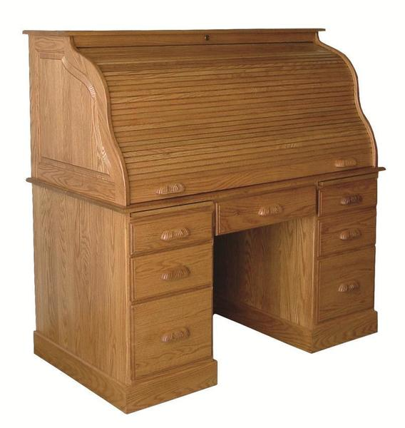 """Amish 54"""" Computer Rolltop Desk with Flat Sides"""