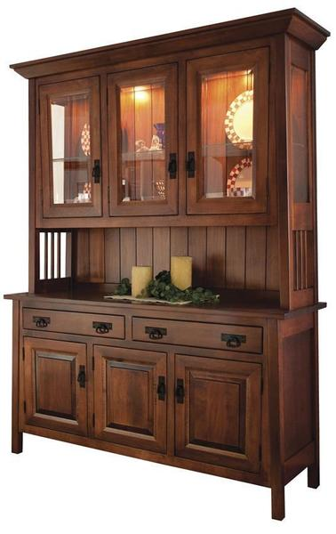 Amish Ouray Mission Hutch with Three Doors and Two Drawers in the Base and Three Glass Doors in the Hutch Top