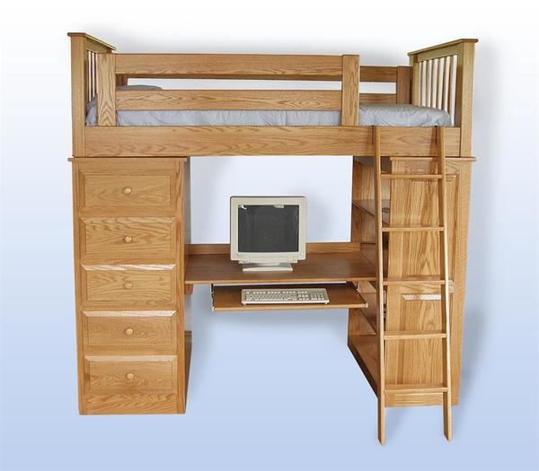 Amish Kids' Loft Bed with Optional Bookcase Doors
