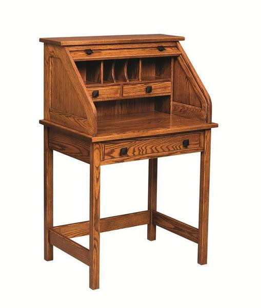 """Amish 30"""" Post Mission Rolltop Writing Desk"""