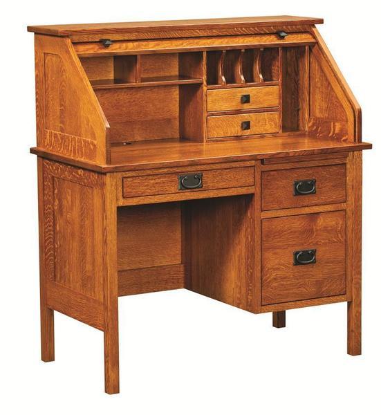 """Amish 42"""" Single Pedestal Post Mission Rolltop Desk"""
