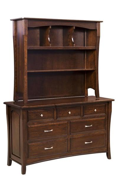 Amish Berkley Seven Drawer Dresser with Optional Hutch Top