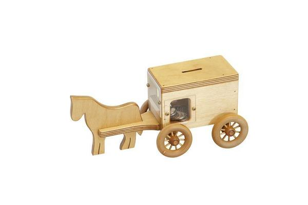 Wooden Horse and Buggy Bank