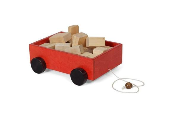 American Made Wood Blocks on Wheels Pull Toy