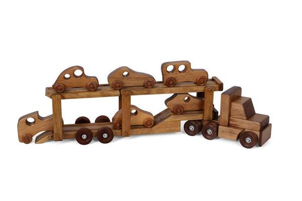 Amish Wooden Toy Carrier Truck with Cars