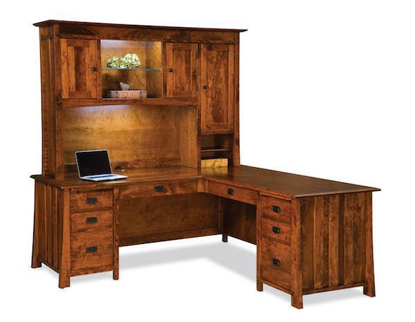 purchase cheap 8b816 b1059 Amish Grant L-Shaped Desk with Optional Hutch