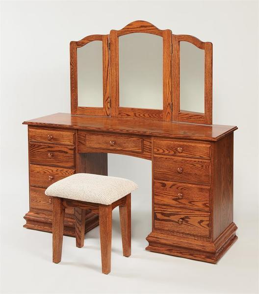Amish Birchwood Deluxe Clockbase Dressing Table