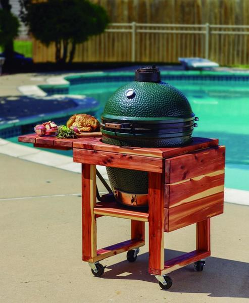 Amish Wood Grill Table with Drop Leaves for Big Green Egg and Kamado Joe Grills