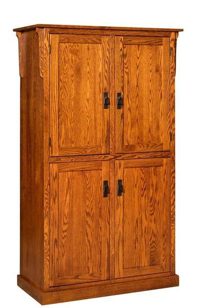 Amish Solid Wood Mission 4-Door Pantry Cabinet